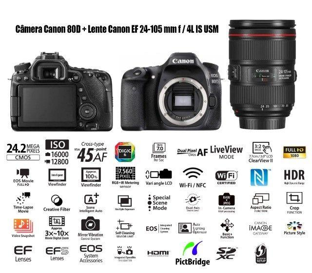 Camera Canon 80D + Lente 24-105 F4L IS usm - muito conservada.