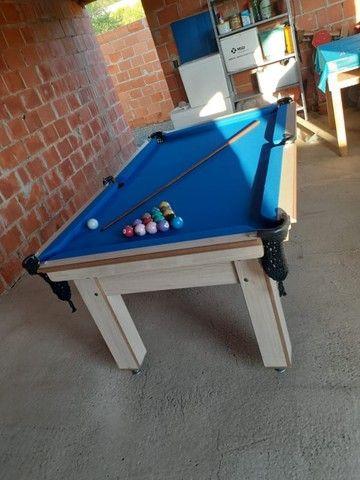 Mesa Tentação de Bilhar Cor Noce Tecido Azul Mod. BASE8487 - Foto 2