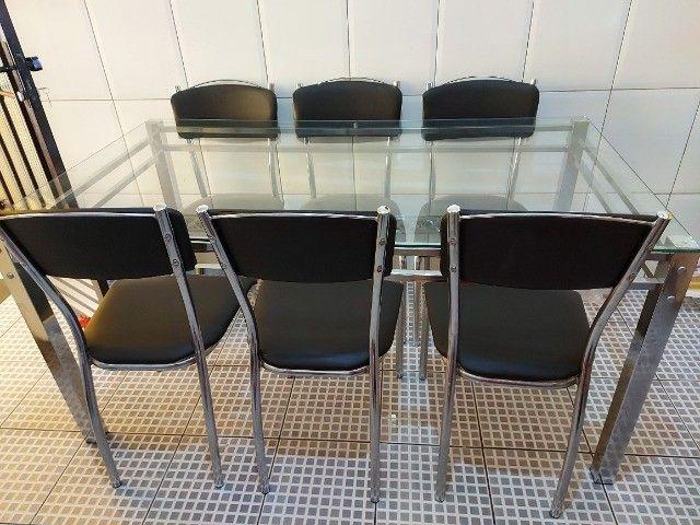 Mesa com 6 Cadeiras Tampo Vidro
