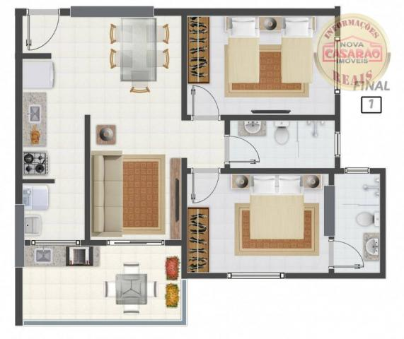 Apartamento com 2 dormitórios à venda, 58 m² por R$ 299.700,00 - Canto do Forte - Praia Gr - Foto 13