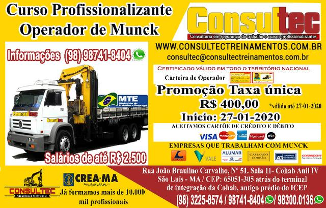 Curso para Operador de Munck de R$ 400,00 Inicio dia 27-01-2020