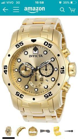 de90fba15cb Relogio Invicta Pro Diver 0074 - Ouro 18K Original - Bijouterias ...