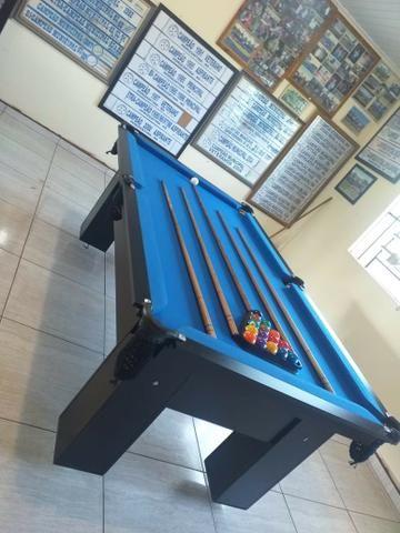 Mesa Charme de Sinuca Cor Preta Tecido Azul Mod. BWKV494 - Foto 3