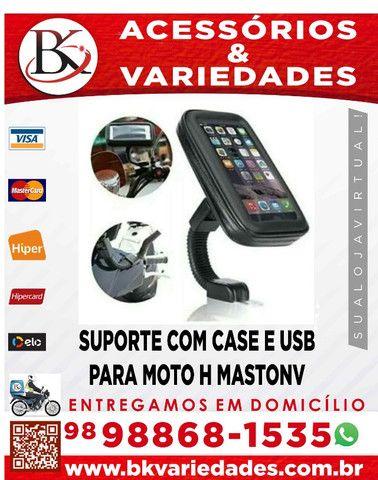 Suporte Com Case E Usb Para Moto H Maston- Entrega Grátis - Promoção - Foto 2