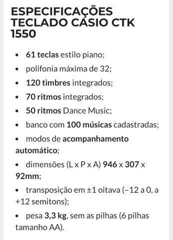 TECLADO SEMI-PROFISSIONAL CTK-1550 SEMINOVO (LEIA A DESCRIÇÃO)  - Foto 5