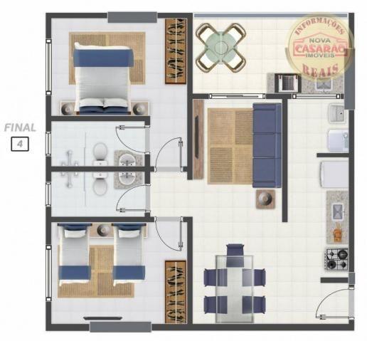 Apartamento com 2 dormitórios à venda, 58 m² por R$ 299.700,00 - Canto do Forte - Praia Gr - Foto 16