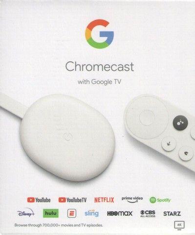 Google Chromecast com Google TV - Streaming Media Player em 4K HDR - Neve - Novo - Foto 3