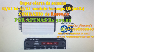 Módulo Automotivo Taramps Ds300x4 300 + Radio Usb Integrado bluetooth