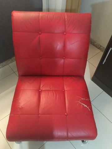 Sofá Poltrona Vermelha Pés Inox - Foto 2