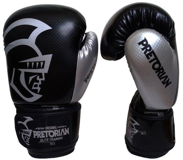 Luva + Bandagens + Protetor Bucal Pretorian Elite Premium Muay Thai Boxe Somos Loja - Foto 3