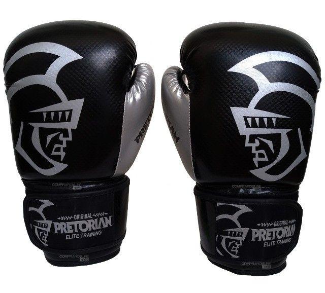 Luva + Bandagens + Protetor Bucal Pretorian Elite Premium Muay Thai Boxe Somos Loja - Foto 2