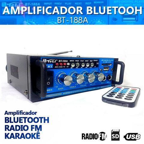 Amplificador Áudio Stereo Bluetooth Rádio Fm Karaokê Bt-188a