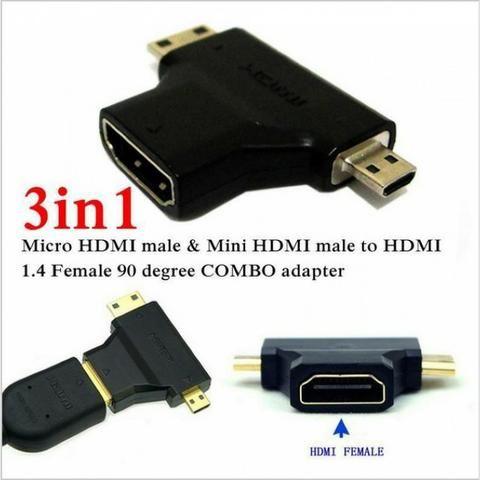Conversor Adaptador Micro Hdmi E Mini Hdmi Macho Para Hdmi Femea (Duplo) - Foto 2