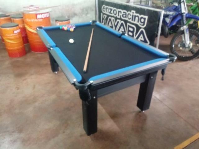 Mesa Tentação Sinuca Cor Tabaco Tecido Preto e Borda Azul Mod. UEZG6241 - Foto 2