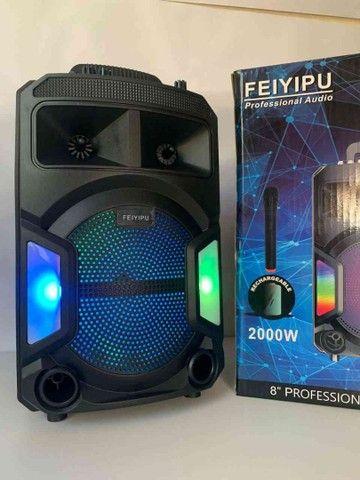 Caixa de Som 2000W Bluetooth ES802 + Microfone sem fio! - Foto 3