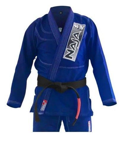 Kimono Jiu Jitsu Jiu-Jitsu Naja Brave Azul Reforçado Adulto Somos Loja - Foto 4