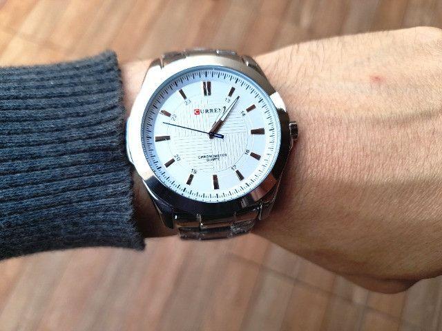 Relógio Masculino Marca: Curren 8109, Novo Prata e Branco