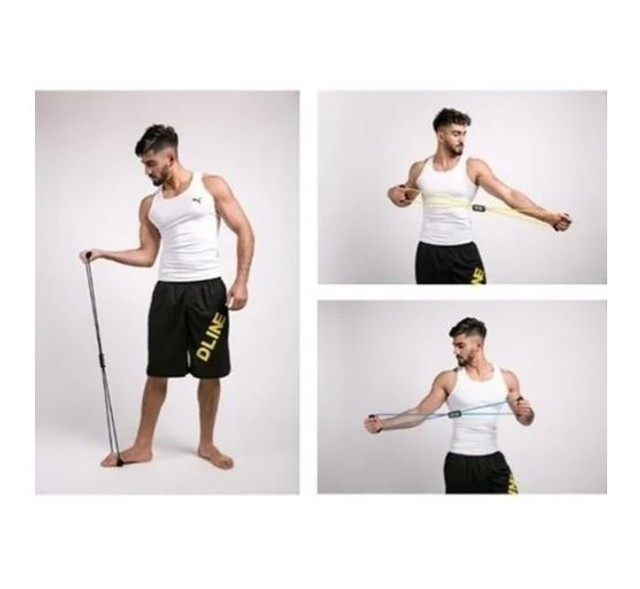 Elástico Tensão Exercícios Ombro Biceps Triceps Peito Costas_ ep21 - Foto 4