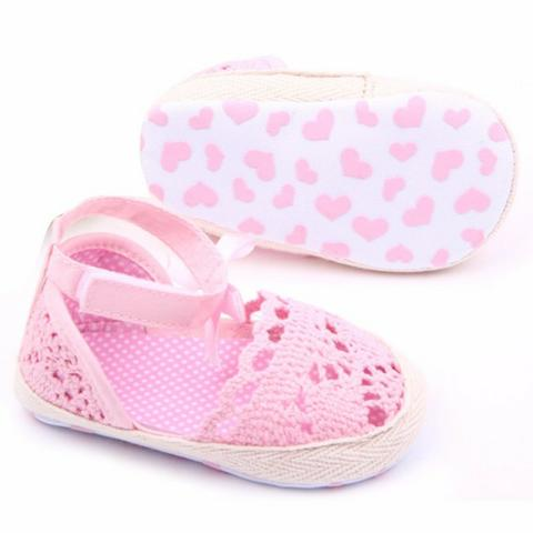 Sapato de Renda p/ Bebê Rosa Menina