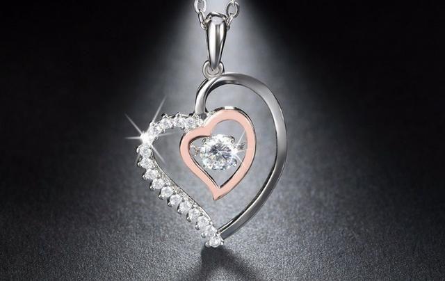 87a2c61f212 Colar Coração Duplo Prata 925 Feminino Zirconia E Ouro Rose ...