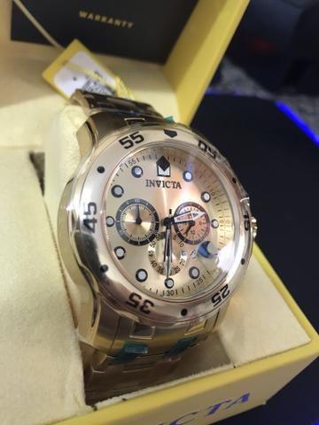 4c0b13cb07d Relógio INVICTA Original Pro Diver 0074 Banhado a Ouro 18kt Cronógrafo  Mostrador Dourado