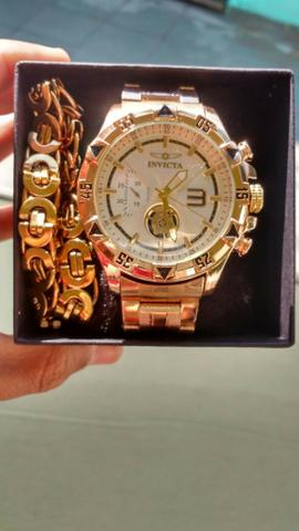 6d840297914 Kit Relógio Invicta Mais Cordão Maciço Banhado a Ouro 18K -   Aceito Cartão
