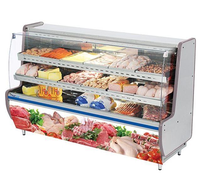 Expositor Açougue Avícola com Vidro Semi Curvo - 2,00m Polo Frio