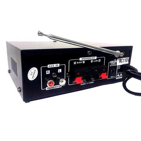 Amplificador Áudio Stereo Bluetooth Rádio Fm Karaokê Bt-188a - Foto 3