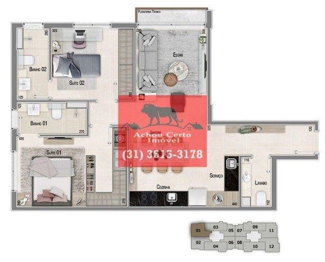 Apartamentos novos com 1 e 2 quartos à venda no bairro Santo Agostinho em BH - Foto 7