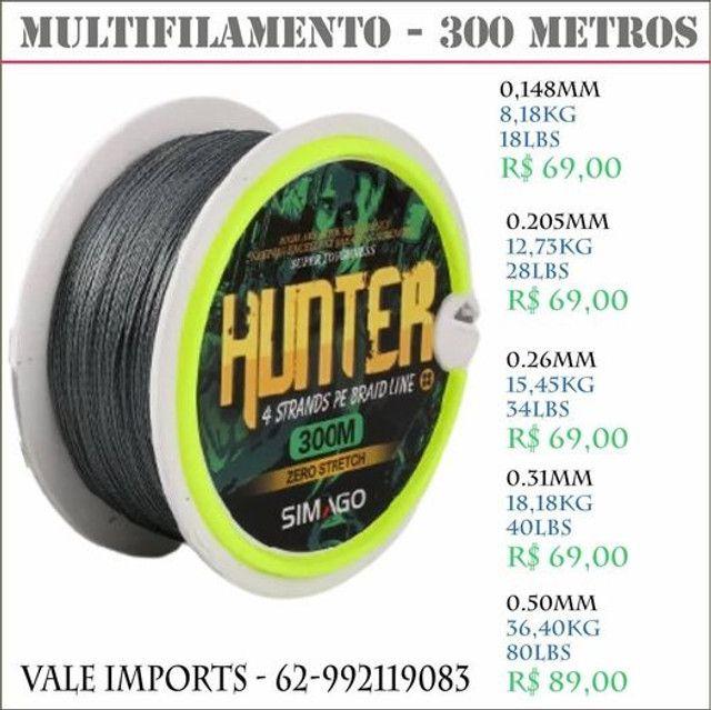 Linha Multifilamento Hunter cinza de 8 - 18kg de 18-40lbs