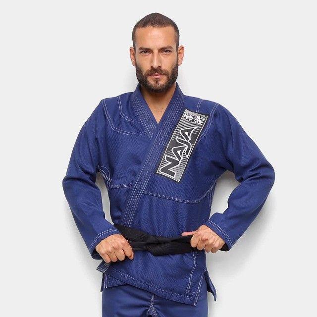 Kimono Jiu Jitsu Jiu-Jitsu Naja Brave Azul Reforçado Adulto Somos Loja - Foto 3