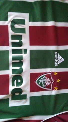 Camisa Fluminense Oficial Unimed 2009 Tamanho G Usada - Foto 4