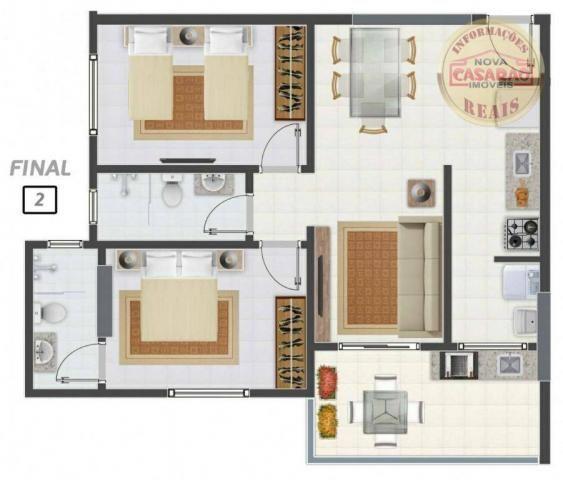 Apartamento com 2 dormitórios à venda, 58 m² por R$ 299.700,00 - Canto do Forte - Praia Gr - Foto 14