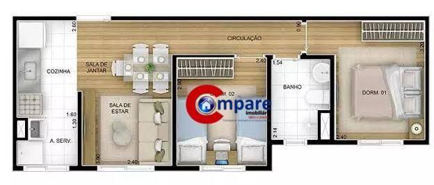 Apartamento com 2 dormitórios à venda, 44 m² por r$ 265.000 - vila rio de janeiro - guarul - Foto 8