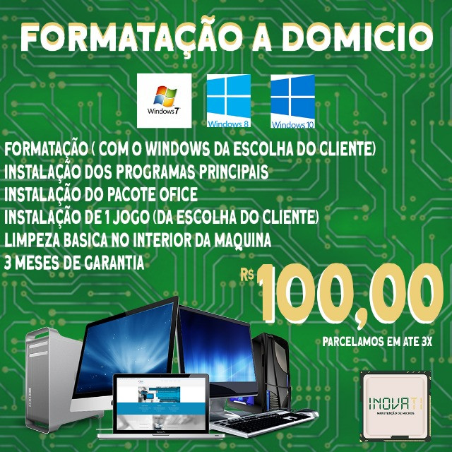 Formatação de computador e notebook e manutenção