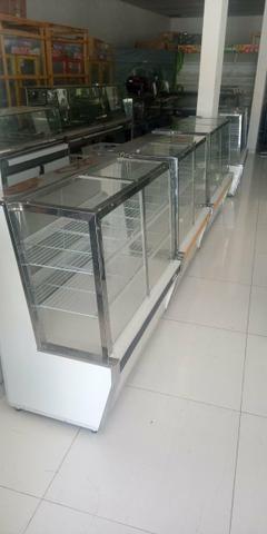 Balcão vitrine quente refrigerado pronta entrega