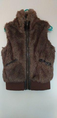 Colete/casaco de pêlo com zíper