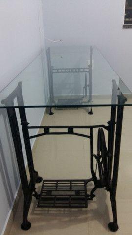 Mesa Escritório Pé Máquina de Costura Ferro e Vidro 8mm - Foto 6