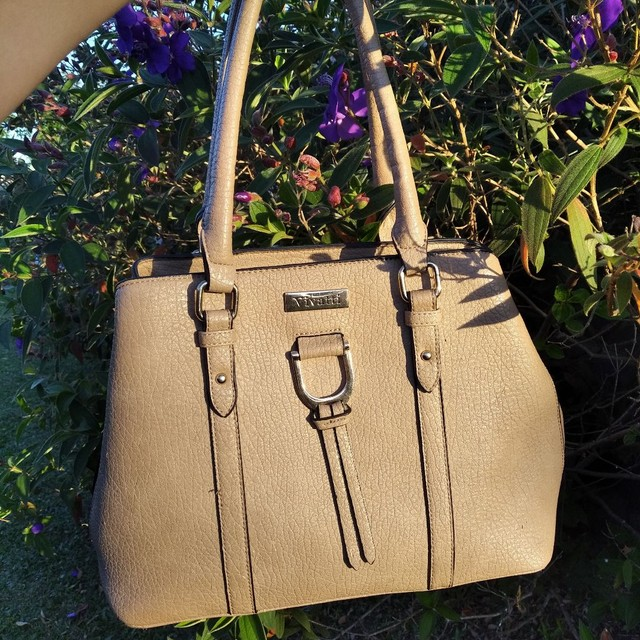 Bolsa feminina de mão linda bege Vivatti couro