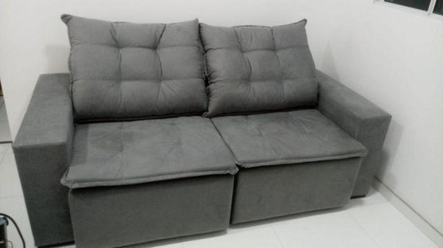 Sofá NOVO com almofadas de flocos e assento retrátil   Frete grátis para o ES - Foto 4