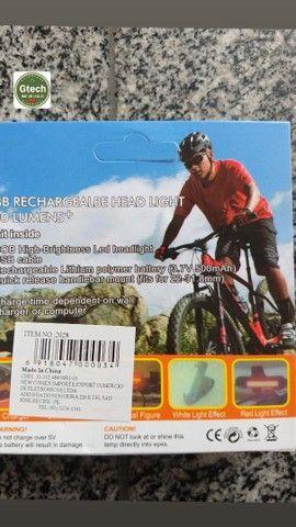 Led para bicicleta recarregável, potente, azul e vermelho, 2em1.(retirada Jordão) - Foto 5