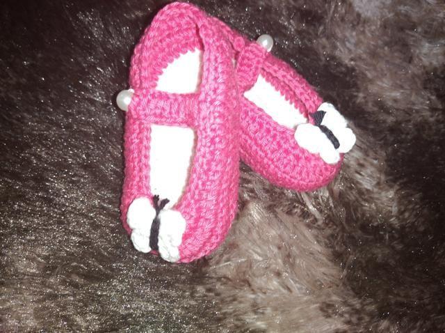 Sapatinho de Crochê Menina Rosa - Foto 2