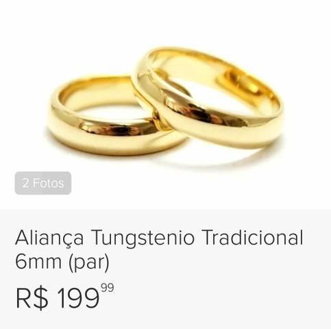 Alianças de tungstênio banhadas a ouro 18k - Foto 2