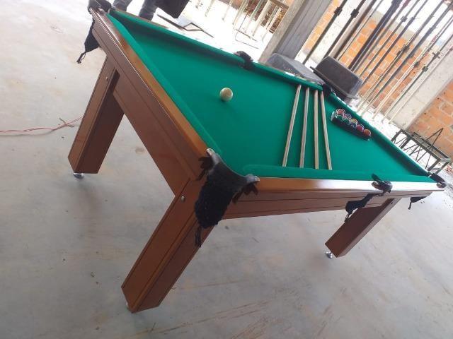 Mesa Tentação 1,93 x 1,18 Cor Imbuia Tecido Verde Mod. BSCS2259 - Foto 3