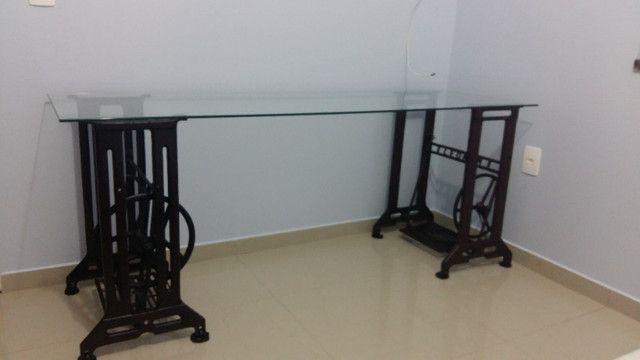 Mesa Escritório Pé Máquina de Costura Ferro e Vidro 8mm - Foto 3