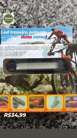 Led para bicicleta recarregável, potente, azul e vermelho, 2em1.(retirada Jordão) - Foto 6