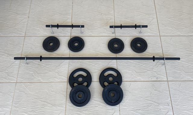 Barra / Halter / Anilha / Presilhas - Musculação / academia / Treino quarentena