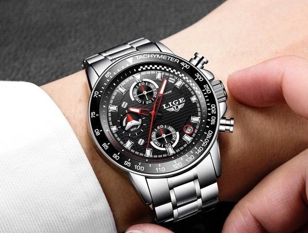 Última peça_Relógio cronógrafo de luxo_100% funcional_importado_novo_!!
