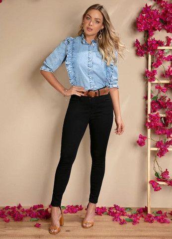 Calça jeans preta empina bumbum - Foto 2