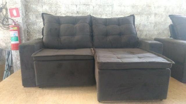 Sofá retrátil e reclinável em tecido SUED modelo Débora com pillow NOVO - Foto 4